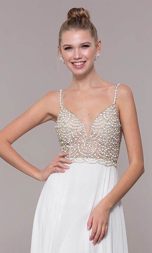 Image of open-back beaded-bodice long formal prom dress. Style: CD-GL-G848 Detail Image 1