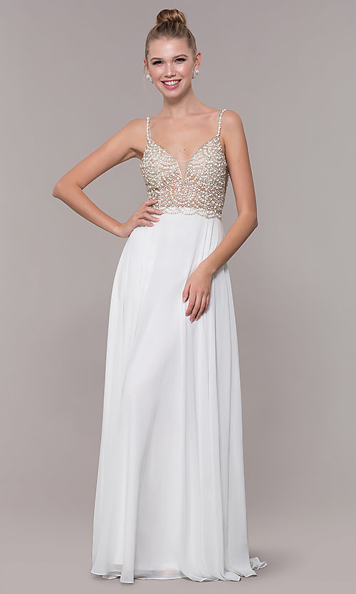 Image of open-back beaded-bodice long formal prom dress. Style: CD-GL-G848 Detail Image 3