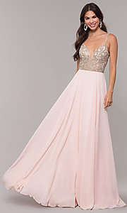 Image of v-neck long chiffon prom dress with beaded bodice. Style: CD-GL-G847 Detail Image 3