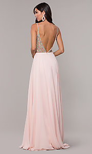 Image of v-neck long chiffon prom dress with beaded bodice. Style: CD-GL-G847 Detail Image 4