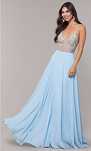 Image of v-neck long chiffon prom dress with beaded bodice. Style: CD-GL-G847 Front Image