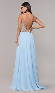 Image of v-neck long chiffon prom dress with beaded bodice. Style: CD-GL-G847 Back Image