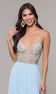 Image of v-neck long chiffon prom dress with beaded bodice. Style: CD-GL-G847 Detail Image 1