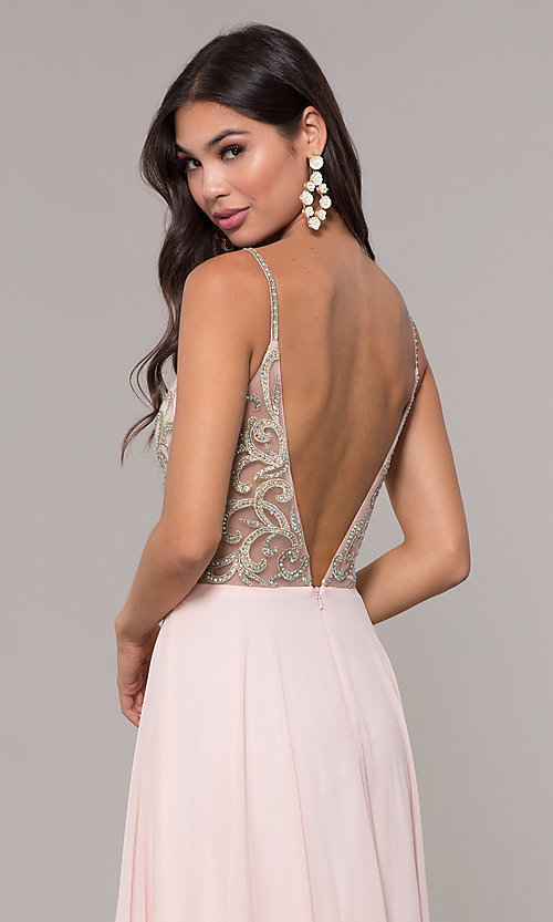 Image of v-neck long chiffon prom dress with beaded bodice. Style: CD-GL-G847 Detail Image 6