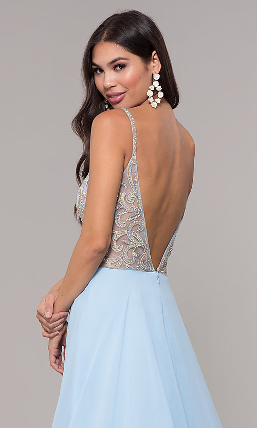 Image of v-neck long chiffon prom dress with beaded bodice. Style: CD-GL-G847 Detail Image 2
