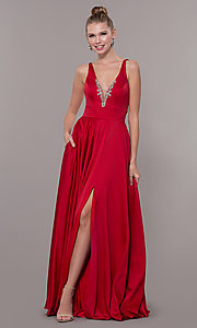 Image of bead-accented long satin formal dress with pockets. Style: CD-GL-G813 Front Image