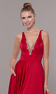 Image of bead-accented long satin formal dress with pockets. Style: CD-GL-G813 Detail Image 1