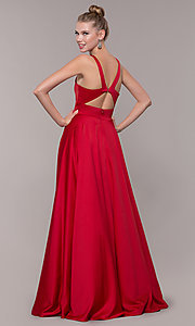 Image of bead-accented long satin formal dress with pockets. Style: CD-GL-G813 Back Image