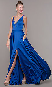 Image of bead-accented long satin formal dress with pockets. Style: CD-GL-G813 Detail Image 2