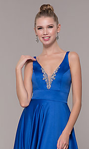 Image of bead-accented long satin formal dress with pockets. Style: CD-GL-G813 Detail Image 4