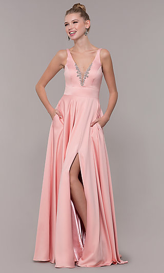 Bead-Accented Long Satin Formal Dress with Pockets