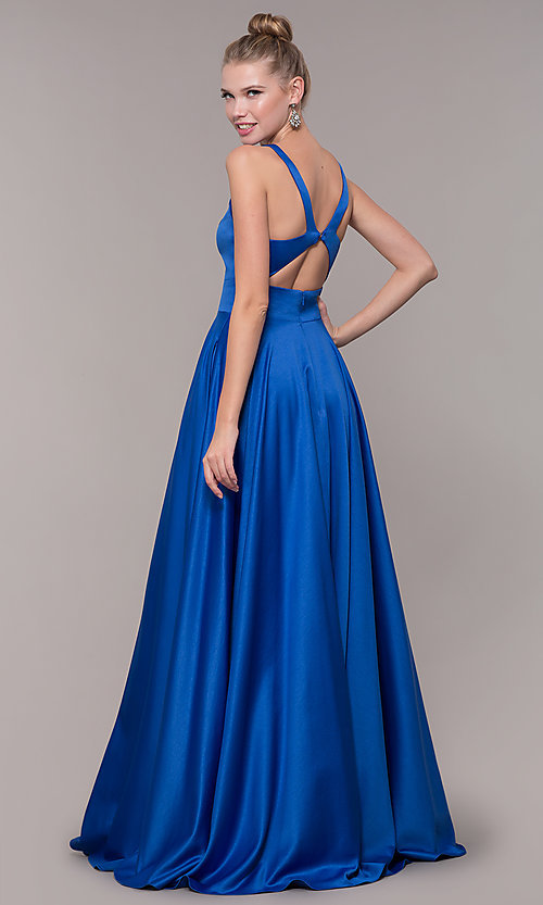 Image of bead-accented long satin formal dress with pockets. Style: CD-GL-G813 Detail Image 3