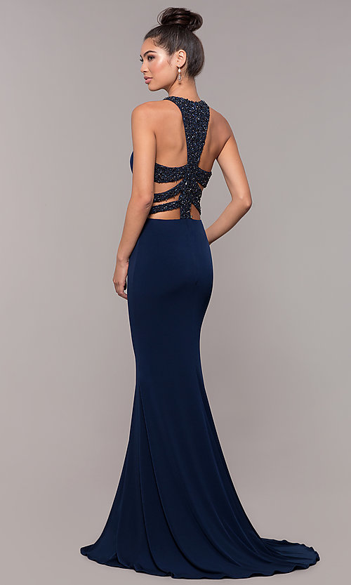 Image of long formal prom dress with beaded caged back. Style: CD-GL-G807 Front Image