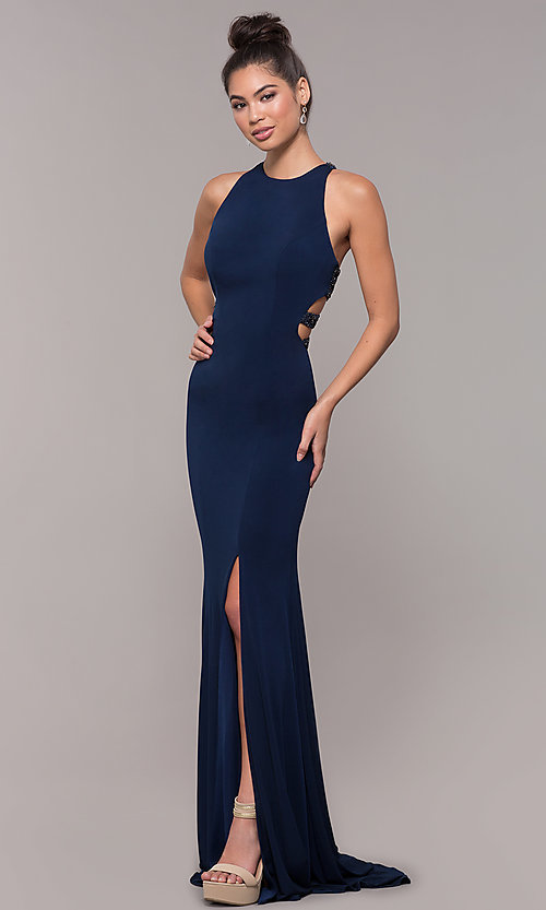 Image of long formal prom dress with beaded caged back. Style: CD-GL-G807 Back Image
