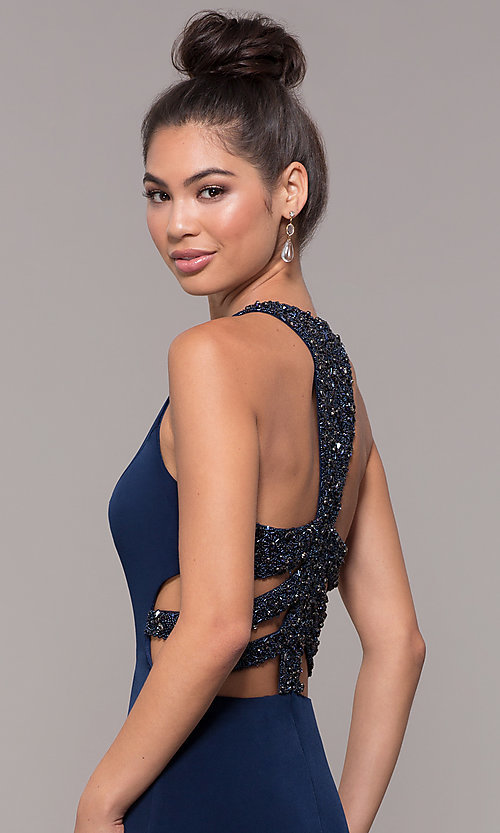 Image of long formal prom dress with beaded caged back. Style: CD-GL-G807 Detail Image 1