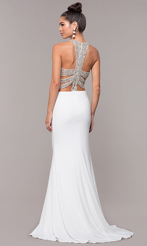 Image of long formal prom dress with beaded caged back. Style: CD-GL-G807 Detail Image 3