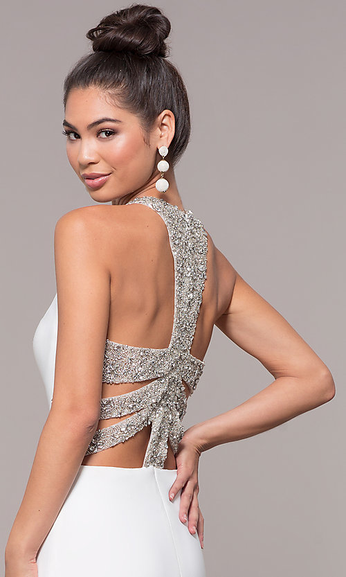 Image of long formal prom dress with beaded caged back. Style: CD-GL-G807 Detail Image 6