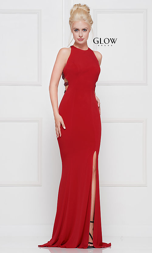 Image of long formal prom dress with beaded caged back. Style: CD-GL-G807 Detail Image 7