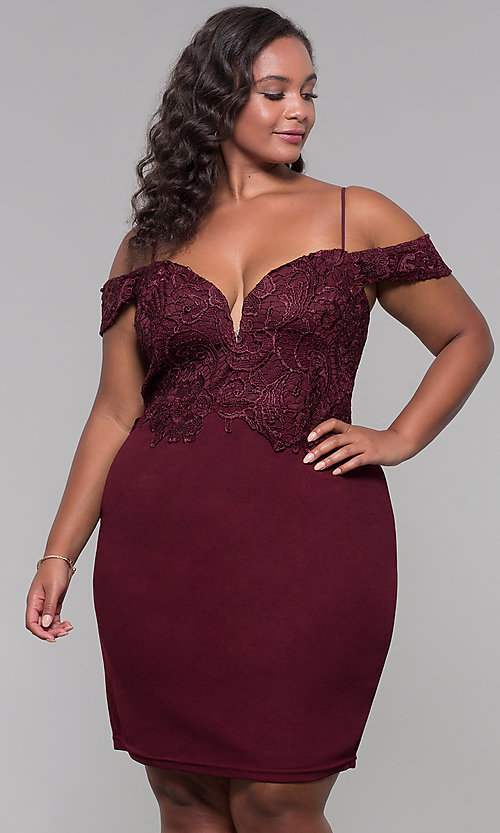 Image of lace-bodice off-shoulder short plus-size party dress. Style: SOI-PS40031 Detail Image 3