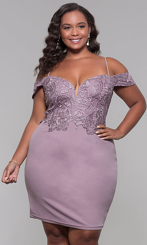 Image of lace-bodice off-shoulder short plus-size party dress. Style: SOI-PS40031 Front Image