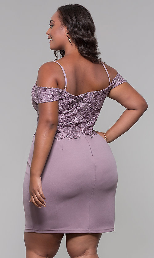 Image of lace-bodice off-shoulder short plus-size party dress. Style: SOI-PS40031 Back Image