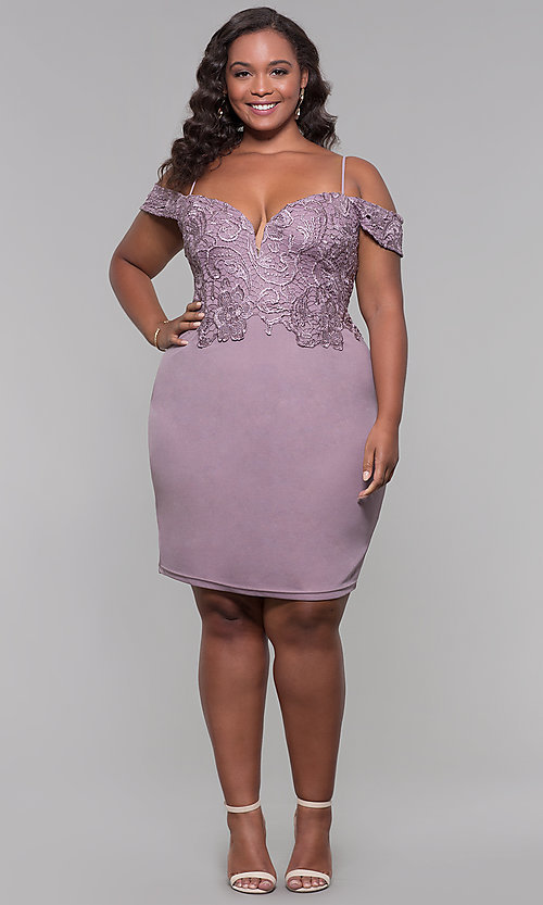 Image of lace-bodice off-shoulder short plus-size party dress. Style: SOI-PS40031 Detail Image 2