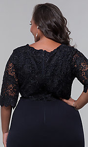 Image of plus-size short wedding-guest dress with 3/4 sleeves. Style: SOI-PS40042 Detail Image 6