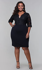 Image of plus-size short wedding-guest dress with 3/4 sleeves. Style: SOI-PS40042 Detail Image 7
