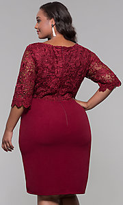 Image of plus-size short wedding-guest dress with 3/4 sleeves. Style: SOI-PS40042 Back Image