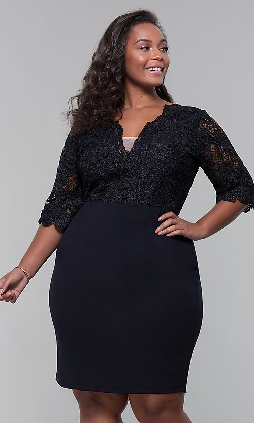 Image of plus-size short wedding-guest dress with 3/4 sleeves. Style: SOI-PS40042 Detail Image 3