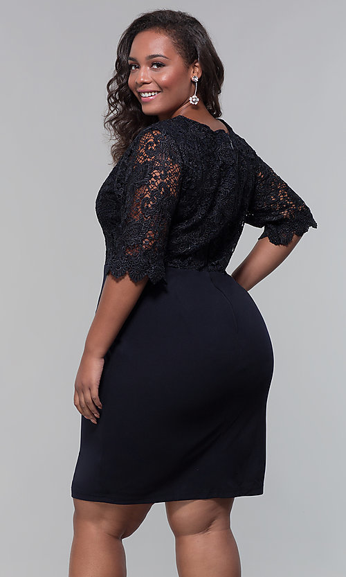 Image of plus-size short wedding-guest dress with 3/4 sleeves. Style: SOI-PS40042 Detail Image 4