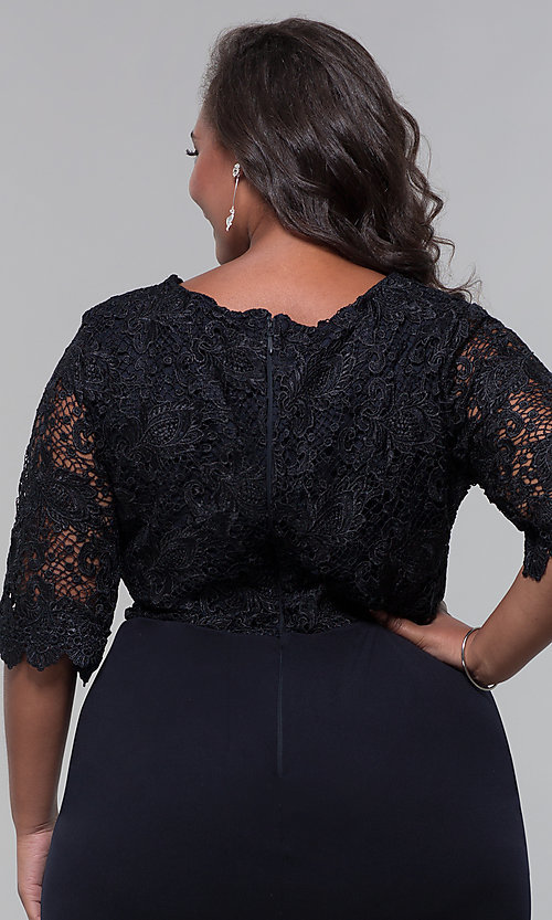 Image of plus-size short wedding-guest dress with 3/4 sleeves. Style: SOI-PS40042 Detail Image 2