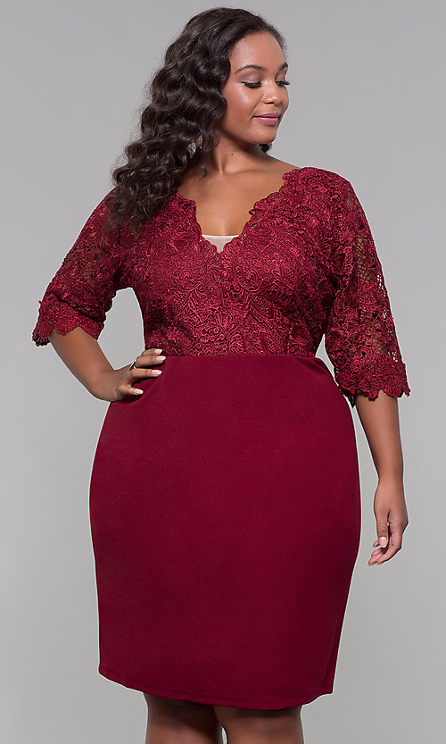 Image of plus-size short wedding-guest dress with 3/4 sleeves. Style: SOI-PS40042 Front Image