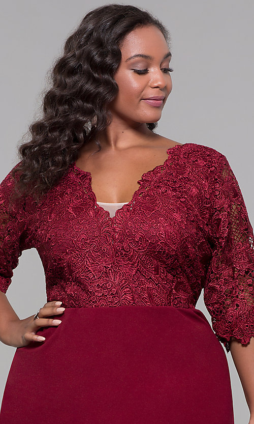 Image of plus-size short wedding-guest dress with 3/4 sleeves. Style: SOI-PS40042 Detail Image 1