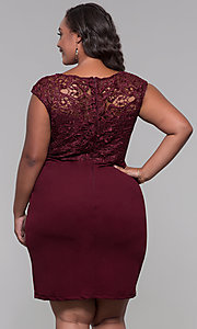 Image of plus-size short lace-bodice wedding-guest dress. Style: SOI-PS40025 Back Image