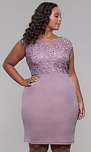 Image of plus-size short lace-bodice wedding-guest dress. Style: SOI-PS40025 Detail Image 3