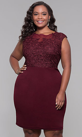 Plus-Size Short Lace-Bodice Wedding Guest Dress