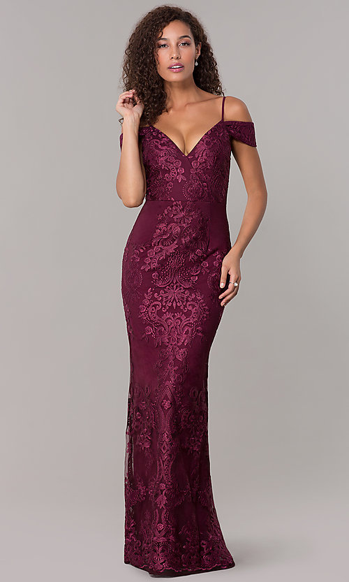 3d95c8513055 Image of wine red long formal MOB dress with lace applique. Style  SOI-