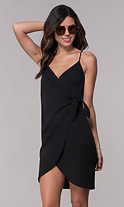 Image of black faux-wrap short party dress with ruching. Style: BLU-BD9034 Front Image