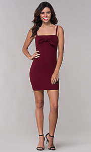 Image of empire-waist short burgundy party dress with bow. Style: BLU-BD9042-1 Detail Image 3
