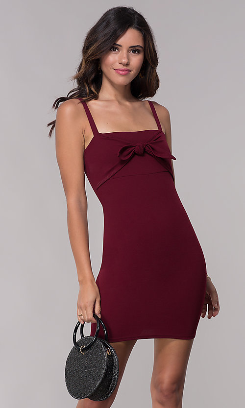 Image of empire-waist short burgundy party dress with bow. Style: BLU-BD9042-1 Front Image