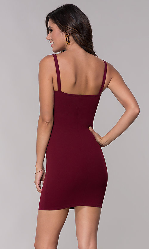 Image of empire-waist short burgundy party dress with bow. Style: BLU-BD9042-1 Back Image