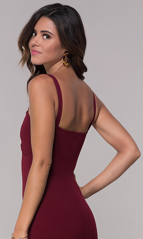 Image of empire-waist short burgundy party dress with bow. Style: BLU-BD9042-1 Detail Image 2
