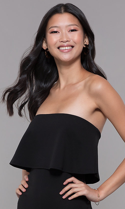 Image of knee-length popover strapless black party jumpsuit. Style: BLU-BR1288 Detail Image 1