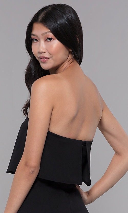 Image of knee-length popover strapless black party jumpsuit. Style: BLU-BR1288 Detail Image 2