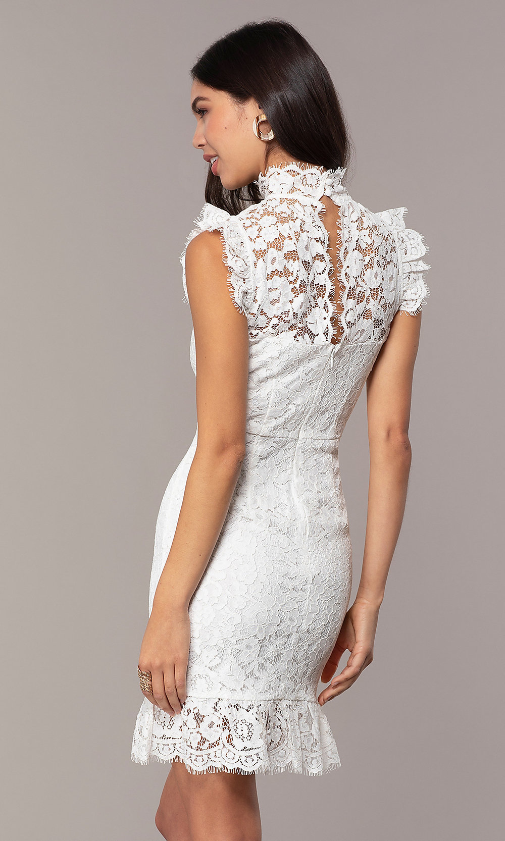 short lace highneck weddingguest party dress