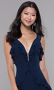 Image of short v-neck wedding guest navy dress with ruffles. Style: STO-SD1493B Detail Image 1