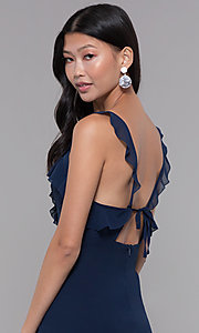 Image of short v-neck wedding guest navy dress with ruffles. Style: STO-SD1493B Detail Image 2