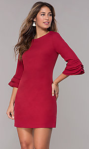 Image of 3/4-trumpet-sleeve short sheath party dress. Style: ESL-62261D-K Front Image