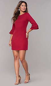 Image of 3/4-trumpet-sleeve short sheath party dress. Style: ESL-62261D-K Detail Image 2